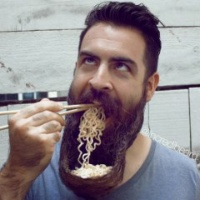 This is actually perfect, because it gives you an automatic excuse for vomiting at the sight. Blame it on the noodles, when in fact it's the beard.